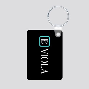 Viola & Alto Clef (Blue) Aluminum Photo Keychain