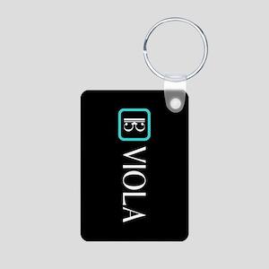 Viola & Alto Clef (Blue) Aluminum Photo Keychain