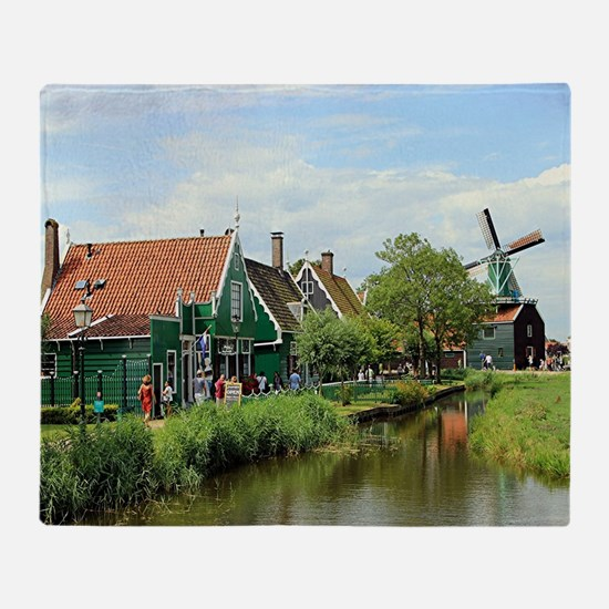 Dutch windmill village, Holland Throw Blanket