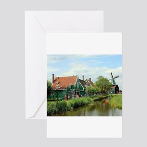 Dutch windmill village, Holland Greeting Cards