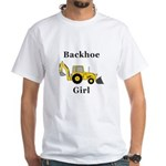 Backhoe Girl White T-Shirt