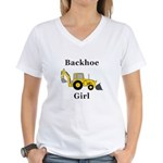 Backhoe Girl Women's V-Neck T-Shirt