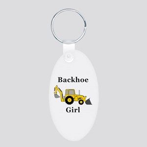 Backhoe Girl Aluminum Oval Keychain