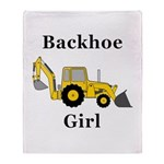Backhoe Girl Throw Blanket