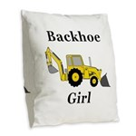 Backhoe Girl Burlap Throw Pillow