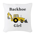 Backhoe Girl Woven Throw Pillow