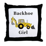 Backhoe Girl Throw Pillow