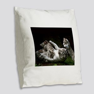 Tag Team Burlap Throw Pillow
