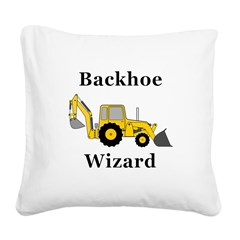 Backhoe Wizard Square Canvas Pillow