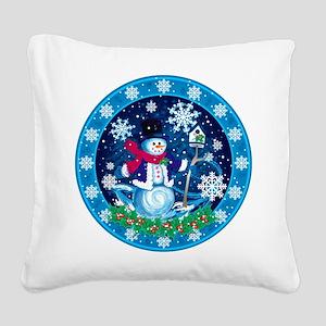 Wonderland Snowman Square Canvas Pillow