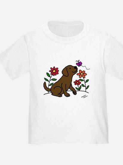 Chocolate Labrador and Green T-Shirt