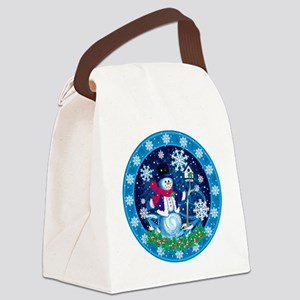 Wonderland Snowman Canvas Lunch Bag