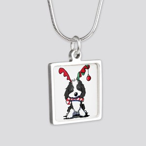 KiniArt Cockapoo Reindeer Silver Square Necklace