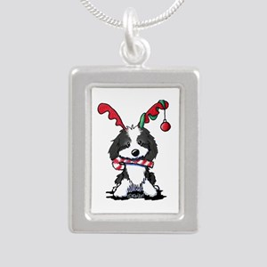 KiniArt Cockapoo Reindee Silver Portrait Necklace