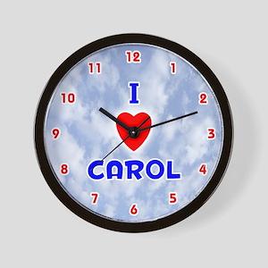 I Love Carol (Red/Bl) Valentine Wall Clock