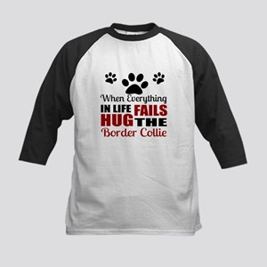 Hug The Border Collie Kids Baseball Jersey
