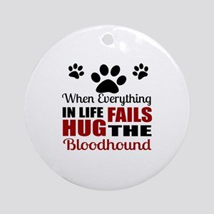 Hug The Bloodhound Round Ornament