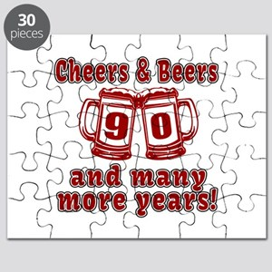 Cheers And Beers 90 And Many More Years Puzzle