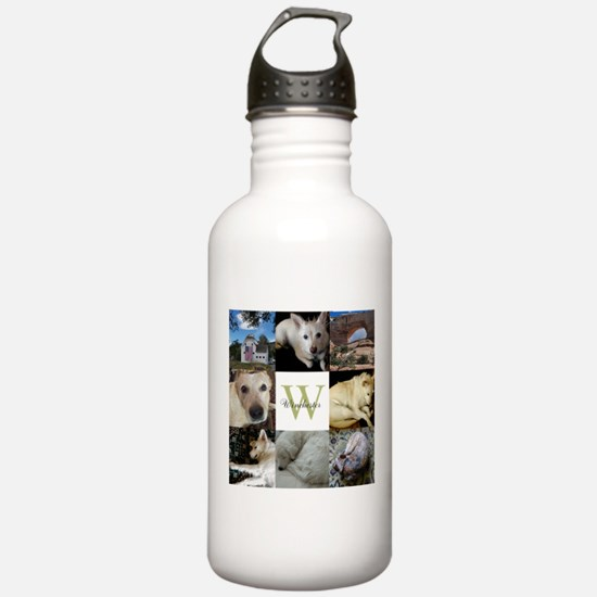 Photo Block with Monogram and Name Water Bottle