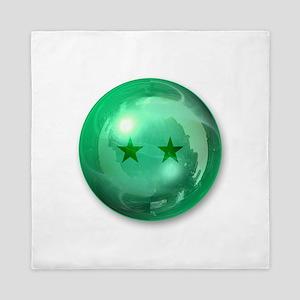 Lucky Two Stars Ball (Green) Queen Duvet