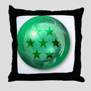 Lucky Seven Stars Ball (Green) Throw Pillow