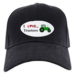 I Love Tractors Black Cap