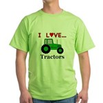 I Love Tractors Green T-Shirt