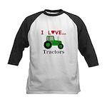 I Love Tractors Kids Baseball Jersey