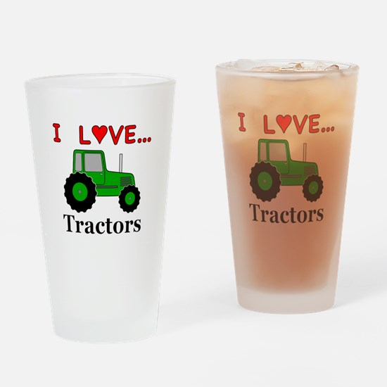 I Love Tractors Drinking Glass