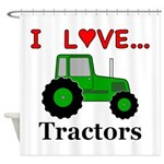 I Love Tractors Shower Curtain