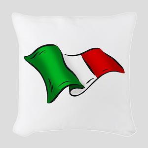 Waving Italian Flag Woven Throw Pillow