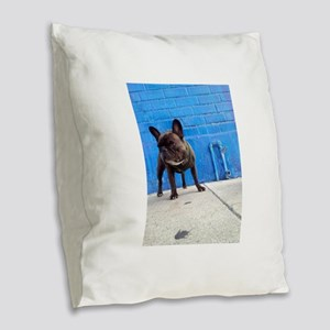 Blue Frenchie Burlap Throw Pillow
