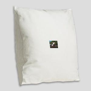 Fawn Frenchie Burlap Throw Pillow