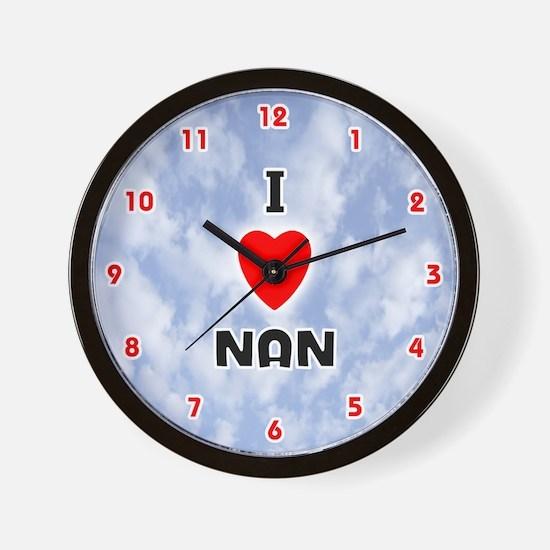 I Love Nan (Red/Blk) Valentine Wall Clock