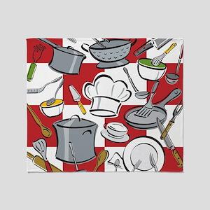 Kitchen Tools Check Throw Blanket