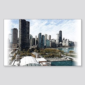 chicago drawing 2 Sticker (Rectangle)