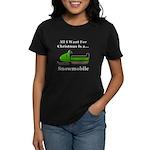 Christmas Snowmobile Women's Dark T-Shirt