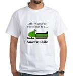 Christmas Snowmobile White T-Shirt