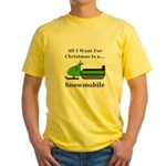 Christmas Snowmobile Yellow T-Shirt