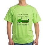 Christmas Snowmobile Green T-Shirt