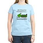 Christmas Snowmobile Women's Light T-Shirt