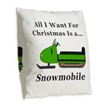 Christmas Snowmobile Burlap Throw Pillow
