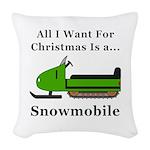 Christmas Snowmobile Woven Throw Pillow