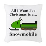 Christmas Snowmobile Woven Throw Pillow