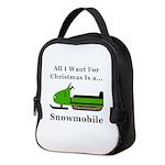 Christmas Snowmobile Neoprene Lunch Bag