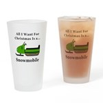 Christmas Snowmobile Drinking Glass