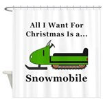 Christmas Snowmobile Shower Curtain