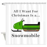 Christmas Snowmobile Shower Curtain
