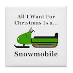 Christmas Snowmobile Tile Coaster