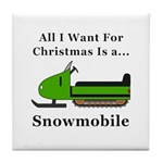 Christmas Snowmobile Tile Coaster